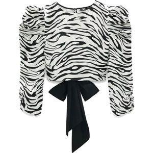 Zara Zebra Print Open Back Crop Top with Ribbon